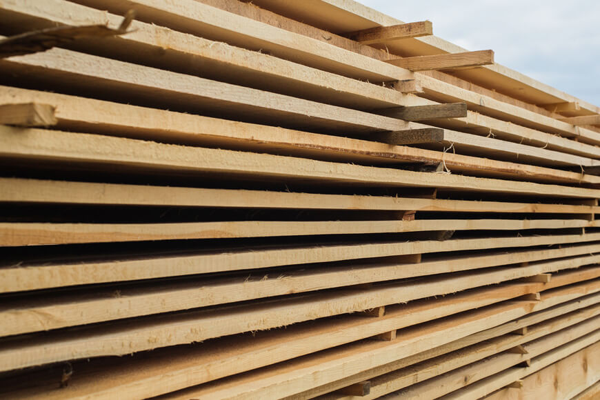 Stacks of dry lumber