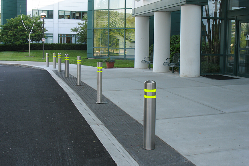 stainless steel bollards with reflective tape