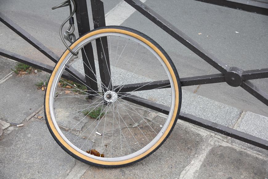 bike wheel left behind after bicycle is stolen