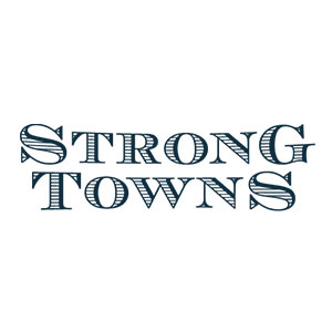 Strong Towns text-based logo of green, vintage font on a white background