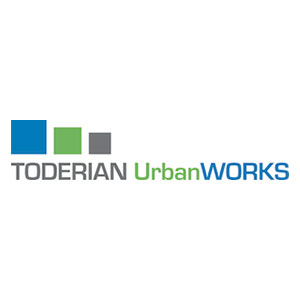 Logo of three boxes of descending sizes above TODERIAN UrbanWorks