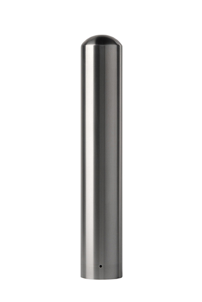 Stainless steel pipe bollard cover with a domed top