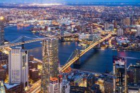 An aerial shot of the Brooklyn and Manhattan bridges