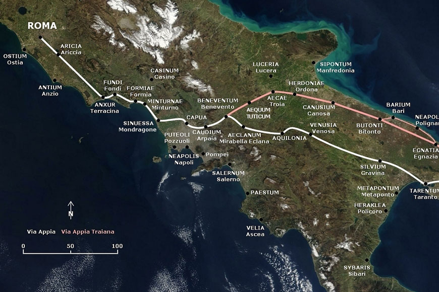 Map of long road built during Roman Empire