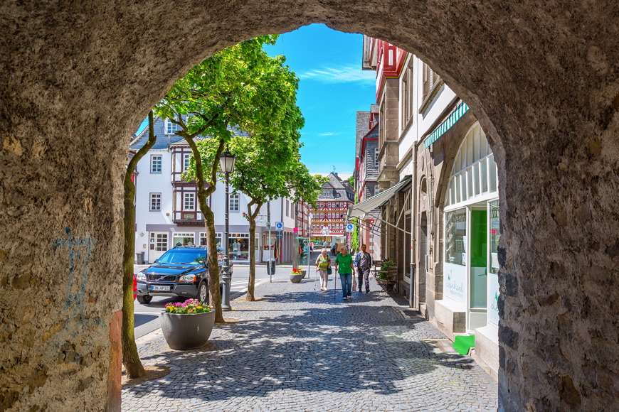 A vibrant shopping street