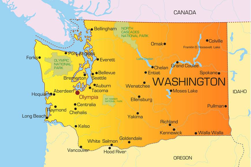 A stock vector map of Washington