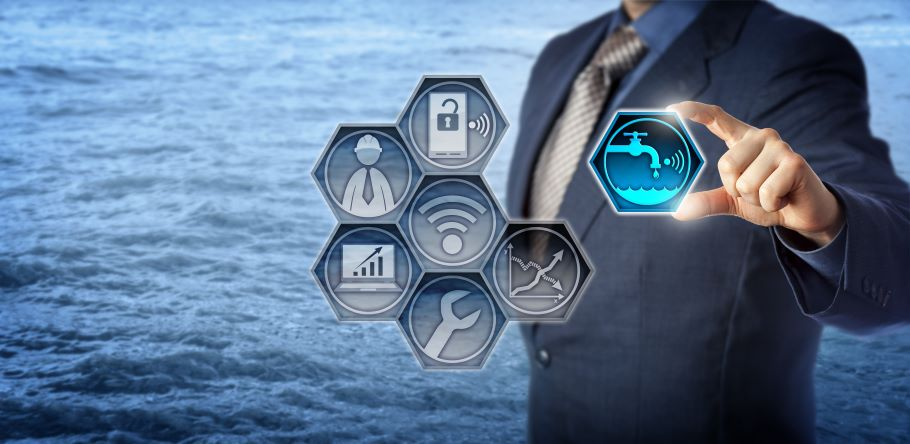 A man in a suit stands behind floating icons representing urban management concerns. An icon of water from a tap is highlighted green.