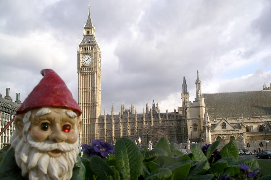 Woody the Travelling Gnome stands in a violet patch with Big Ben in the background